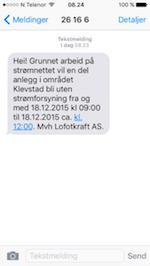skjermdump sms-varsel