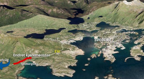 Ny vannledning og nye strømkabler betyr midlertidig endret kjøremønster på E10 mellom Svolvær og Kabelvåg.